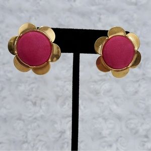 Vintage Flower Power Hot Pink & Gold Daisy Earring
